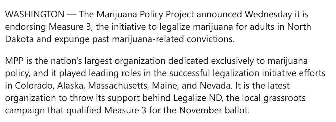 Marijuana Policy Project and NORML officially back North Dakota cannabis legalization initiative
