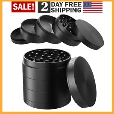 """Large Spice Tobacco Herb Weed Grinder-4 Pcs with Pollen Catcher 2.5"""" Gift Black"""