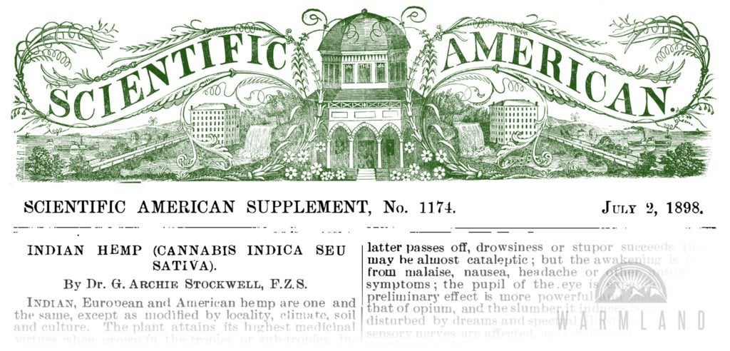 Cannabis 'One of the Most Valuable of Drugs' (Scientific American, 1898)